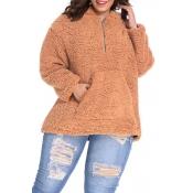 Lovely Trendy Turndown Collar Winter Light Camel P