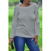 Lovely Leisure Bandage Design Light Grey Sweater
