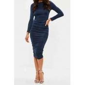 Lovely Party Ruffle Design Dark Blue Knee Length P