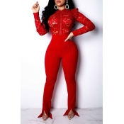 Lovely Trendy Lace Patchwork Red One-piece Jumpsui