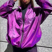 Lovely Casual Zipper Design Purple Coat