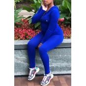 Lovely Casual Zipper Design Basic Blue Plus Size Two-piece Pants Set