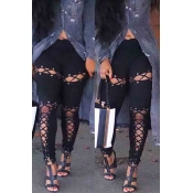 Lovely Trendy Bandage Design Hollow-out Black Pant