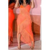 Lovely Trendy  Asymmetrical Tassel Design Orange M
