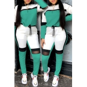 Lovely Sportswear Hooded Collar Patchwork Onion Green Two-piece Pants Set