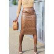 Lovely Work Nail Bead Design Brown Knee Length She
