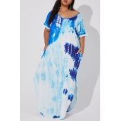 Lovely Casual Tie-dye Blue Ankle Length Plus Size
