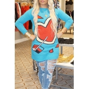 Lovely Trendy O Neck Heart Blue Sweater