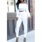 Lovely Casual Skinny White Two-piece Pants Set