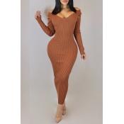 Lovely Casual V Neck Brown Ankle Length Dress