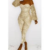 Lovely Casual Dew Shoulder Sequined Gold One-piece
