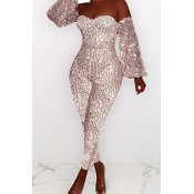 Lovely Casual Dew Shoulder Sequined Light Pink One-piece Jumpsuit