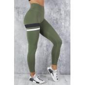 Lovely Sportswear Striped Skinny Army Green Leggin