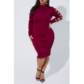 Lovely Casual Half A Turtleneck Hollow-out Wine Re
