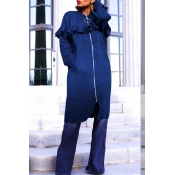 Lovely Casual Flounce Design Blue Coat