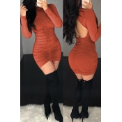 Lovely Sexy Hollow-out Umber Mini Dress