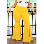 Lovely Casual Flared Yellow Plus Size Pants