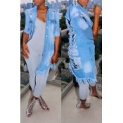 Lovely Trendy Broken Holes Baby Blue Jacket