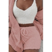 Lovely Casual Basic Pink Three-piece Shorts Set