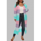 Lovely Casual Patchwork Blue Plus Size Cardigan