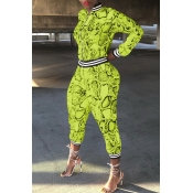 Lovely Casual Patchwork Snakeskin Printed Grass Green  Two-piece Pants Set