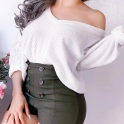 Lovely Trendy V Neck White Sweater