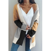 Lovely Casual Patchwork Long Light Tan Cardigan