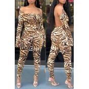 Lovely Casual Tiger Stripes One-piece Jumpsuit