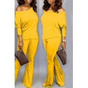 Lovely Trendy Loose Yellow Two-piece Pants Set