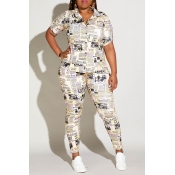 Lovely Casual Letter Printed Yellow Plus Size Two-