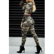 Lovely Casual Camouflage Printed Army Green Two-pi