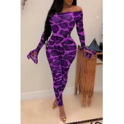 Lovely Sexy Leopard Printed Purple Two-piece Pants