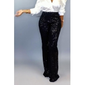 Lovely Casual Sequined Black Pants