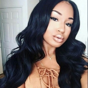 Lovely Trendy Natural Looking Long Wavy Black Wigs