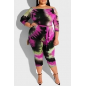 Lovely Leisure Printed Skinny Purple Plus Size One