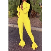 Lovely Casual Flounce Design Yellow One-piece Jump