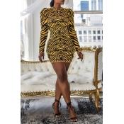 Lovely Casual Tiger Stripes Mini Dress