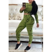 Lovely Casual Printed Skinny Green Two-piece Pants