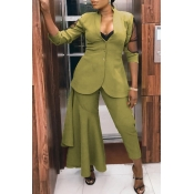 Lovely Work Asymmetrical Green Two-piece Pants Set