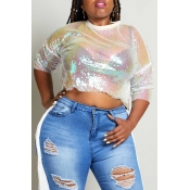 Lovely Sexy See-through Multicolor Plus Size T-shi