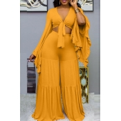 Lovely Trendy V Neck Loose Yellow Two-piece Pants