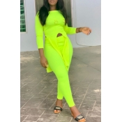 Lovely Trendy Asymmetrical Green Two-piece Pants S