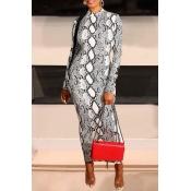 Lovely Casual Snakeskin Printed Black Ankle Length Dress