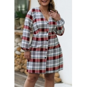 Lovely Casual Plaid Printed Multicolor Plus Size M