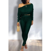Lovely Trendy Dew Shoulder Green Two-piece Pants S