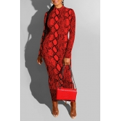 Lovely Casual Snakeskin Printed Red Ankle Length D
