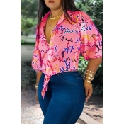 Lovely Casual Turndown Collar Printed Pink Blouse