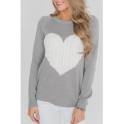 Lovely Sweater Round Neck Heart-shaped Design Grey