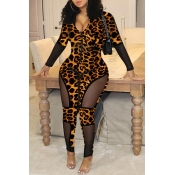 Lovely Chic Patchwork Leopard Printed One-piece Ju