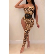 Lovely Sexy Asymmetrical Printed Yellow One-piece Jumpsuit